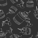 Seamless cake print with cherries on grey background vector illustration