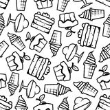 Seamless cakes and ice cream pattern. Sweet desserts background with black and white sketched seamless pattern of ice cream cones and sundae desserts, tiered Stock Photography