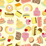 Seamless Cakes pattern. Vector drawing Stock Photography