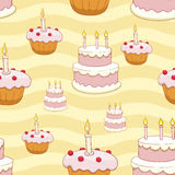 Seamless cakes vector background Stock Photography