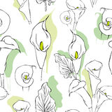 Seamless calla wallpaper pattern. Seamless pattern of calla flowers illustration Royalty Free Stock Photography