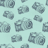 Seamless camera pattern. Seamless pattern background with hand drawn vintage camera illustration Royalty Free Stock Photo