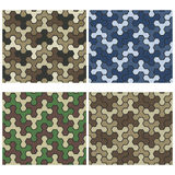 Seamless Camouflage Geometric Pattern Set. Three And Six Color V Royalty Free Stock Image