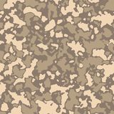 Seamless camouflage pattern with mosaic of abstract stains. Military and desert army camo background in brown and beige. Shade vector illustration