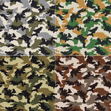 Seamless camouflage pattern. Seamless camouflage textile fabric pattern set Stock Photo