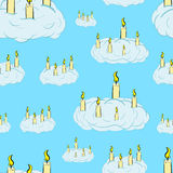 Seamless candles in clouds. Seamless texture with the burning candles in clouds Stock Images