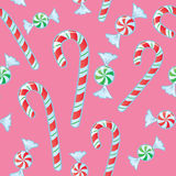 Seamless Candy Cane And Mints Stock Images