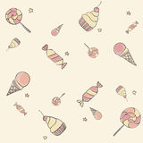 Seamless candy pattern. Seamless hand drawing children pattern with candies, ice-cream, cupcakes and stars Royalty Free Stock Photo