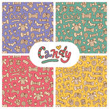 Seamless candy patterns. Vector set Stock Photos