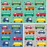 Seamless car pattern. On three different background colours Royalty Free Stock Image