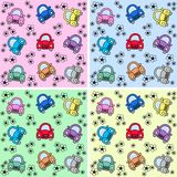 Seamless car pattern. With four different background colours Royalty Free Stock Images