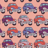 Seamless car pattern. Sketch. Pink, lilac, purple.  Stock Photos