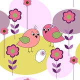 Seamless card with birds and flowers Stock Photos