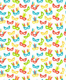 Seamless carnival masks pattern isolated on white. Background Royalty Free Stock Image