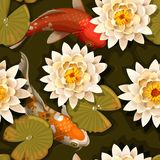 Seamless carps and lotus Royalty Free Stock Images