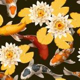 Seamless carps and lotus Royalty Free Stock Photos