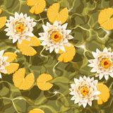 Seamless carps and lotus Stock Photo