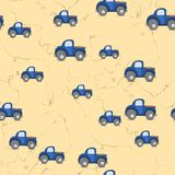 Seamless cars pattern scattered on yellow background Royalty Free Stock Images