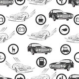 Seamless cars and road signs background Stock Image