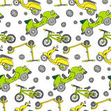 Seamless cars texture. Seamless vector background, texture with cars, scooters. Sketchy, doodle style illustration Stock Photography