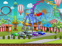 Seamless cartoon amusement park, summer landscape, vector unending background with separated layers. Seamless cartoon amusement park, summer landscape, vector stock illustration