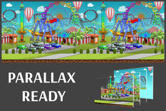Seamless cartoon amusement park, summer landscape, vector unending background with separated layers. Seamless cartoon amusement park, summer landscape, vector royalty free illustration