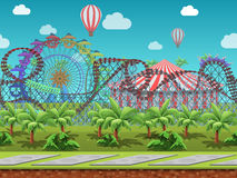 Seamless cartoon amusement park, summer landscape, vector unending background with separated layers. Royalty Free Stock Image