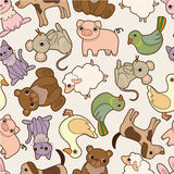 Seamless cartoon animal pattern Stock Photography