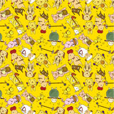 Seamless cartoon animal play music pattern Stock Photography