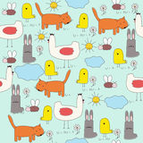 Seamless of cartoon animals (children's drawings) Stock Photography
