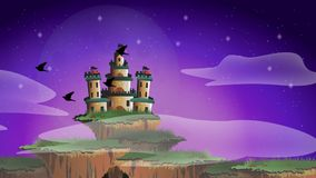 Seamless cartoon animation of a fairy tale fantasy castle on floating island misty world with timelapse changing from morning dawn stock footage