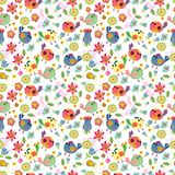 Seamless cartoon Background with color Birds Stock Photography