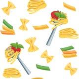 Seamless cartoon background with pasta. Stock Image
