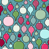 Seamless Cartoon Baubles Background Stock Images