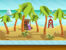 Seamless cartoon beach landscape, vector unending background with separated layers. Stock Images