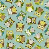 Seamless cartoon bird owls pattern. Seamless cute cartoon bird owls pattern Stock Illustration