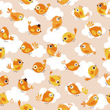 Seamless cartoon bird pattern. Seamless cute cartoon bird pattern Vector Illustration
