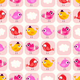 Seamless cartoon birds background pattern Royalty Free Stock Image