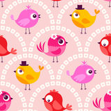 Seamless cartoon birds background pattern Royalty Free Stock Photo