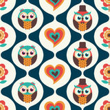Seamless cartoon birds pattern Royalty Free Stock Images