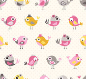 Seamless cartoon birds pattern Stock Photo
