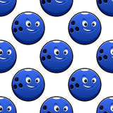 Seamless cartoon blue bowling ball characters Royalty Free Stock Photos