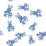 Seamless cartoon bunny pattern with ball on white Stock Photography