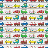 Seamless cartoon car pattern. Drawing Royalty Free Stock Image