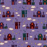 Seamless with cartoon castle pattern Stock Photo