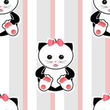 Seamless cartoon cats kids illustration striped background patte Royalty Free Stock Image