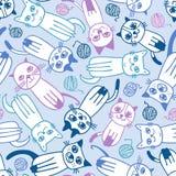 Seamless cartoon cats pattern. Seamless blue cartoon cats pattern Royalty Free Illustration