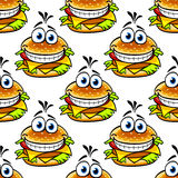 Seamless cartoon cheeseburger Royalty Free Stock Photos