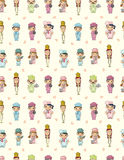 Seamless cartoon chef pattern. Drawing Royalty Free Stock Image