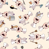 Seamless cartoon chef pattern Royalty Free Stock Photo
